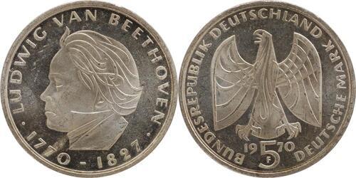 Lieferumfang:Deutschland : 5 DM Beethoven  1970 vz/Stgl.