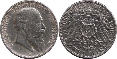 Lieferumfang:Deutschland : 2 Mark Friedrich I.  1905 ss.
