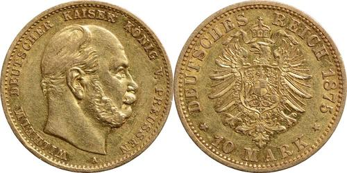 Lieferumfang:Deutschland : 10 Mark Wilhelm I.  1875 ss/vz.