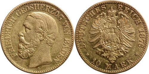Lieferumfang:Deutschland : 10 Mark Friedrich  1876 ss.