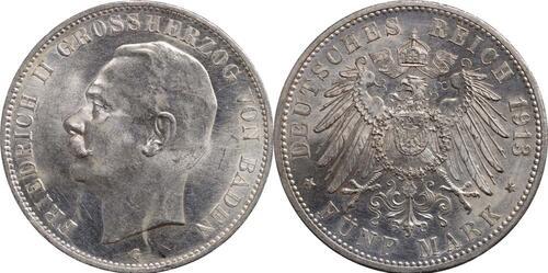 Lieferumfang:Deutschland : 5 Mark Friedrich II. -geschlossenes D-  1913 vz/Stgl.