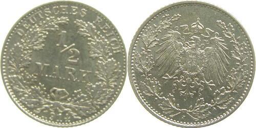 Lieferumfang:Deutschland : 1/2 Mark   1914 vz/Stgl.