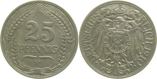 Lieferumfang:Deutschland : 25 Pfennig   1910 ss/vz.