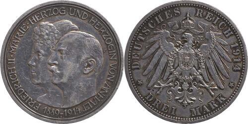 Lieferumfang:Deutschland : 3 Mark Friedrich II. u. Marie patina 1914 vz.