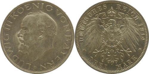 Lieferumfang:Deutschland : 3 Mark Ludwig III.  1914 f.Stgl.