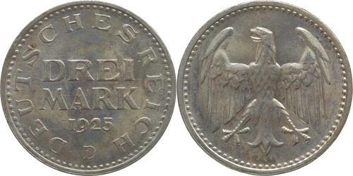 Lieferumfang:Deutschland : 3 Mark  -selten- 1925 Stgl.