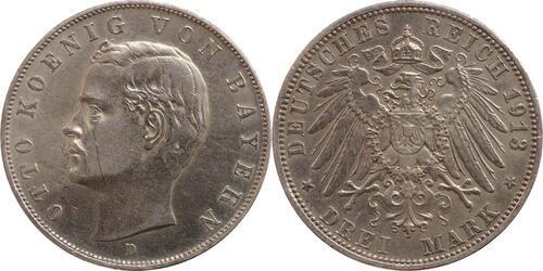 Lieferumfang:Deutschland : 3 Mark Otto  1913 vz.