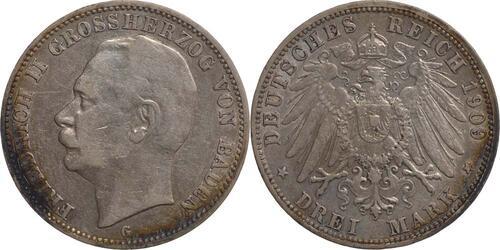 Lieferumfang:Deutschland : 3 Mark Friedrich II.  1909 ss.