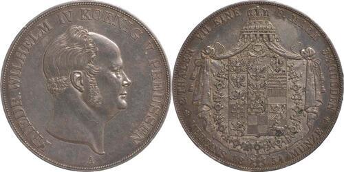 Lieferumfang:Deutschland : 1 Doppeltaler Friedrich Wilhelm IV. patina 1854 vz.