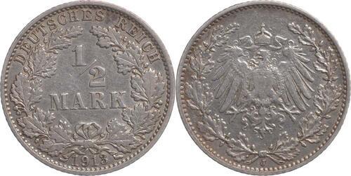 Lieferumfang:Deutschland : 1/2 Mark   1913 ss.