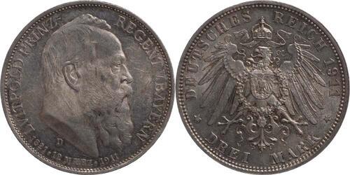 Lieferumfang:Deutschland : 3 Mark Luitpold patina 1911 ss/vz.