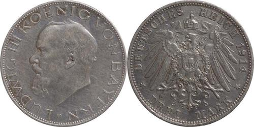 Lieferumfang:Deutschland : 3 Mark Ludwig III. patina 1914 vz.