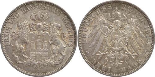 Lieferumfang:Deutschland : 3 Mark  patina 1910 vz.
