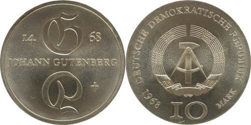 Lieferumfang:DDR : 10 Mark Johann Gutenberg  1968 Stgl.