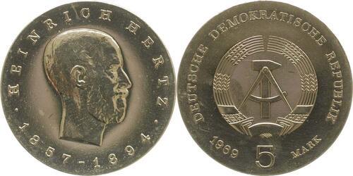 Lieferumfang:DDR : 5 Mark Heinrich Hertz  1969 Stgl.