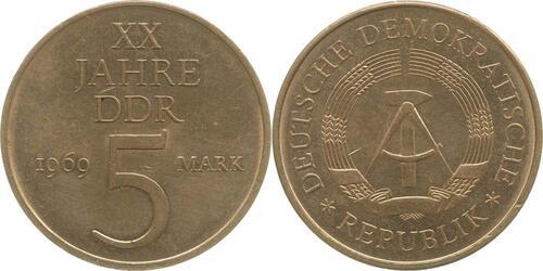 Lieferumfang:DDR : 5 Mark 20 Jahre DDR  1969 vz.