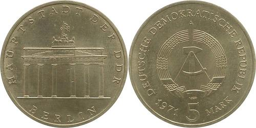 Lieferumfang:DDR : 5 Mark Brandenburger Tor  1971 vz.