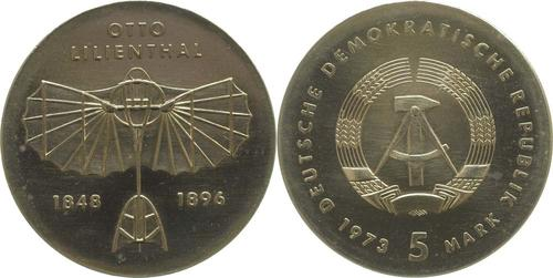 Lieferumfang:DDR : 5 Mark Otto Lilienthal  1973 Stgl.