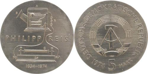 Lieferumfang:DDR : 5 Mark Philipp Reis  1974 Stgl.