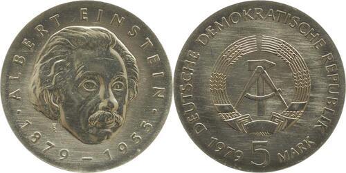 Lieferumfang:DDR : 5 Mark Albert Einstein  1979 Stgl.