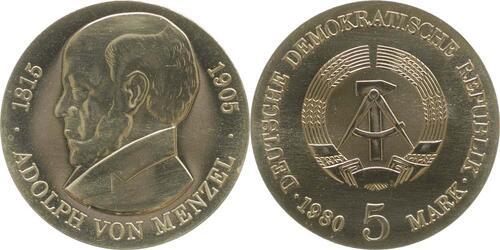 Lieferumfang:DDR : 5 Mark Adolph von Menzel  1980 Stgl.