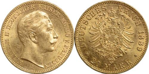 Lieferumfang:Deutschland : 20 Mark Wilhelm II. winz. Kratzer 1889 vz/Stgl.