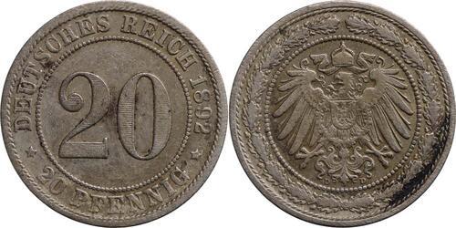 Lieferumfang:Deutschland : 20 Pfennig   1892 ss.