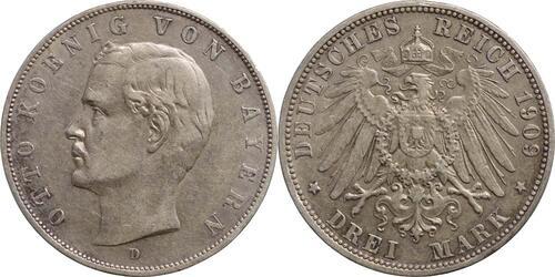 Lieferumfang:Deutschland : 3 Mark Otto patina 1909 vz.