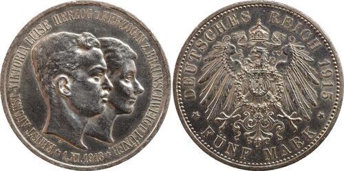 Lieferumfang:Deutschland : 5 Mark Ernst August Randunebenheiten 1915 vz/Stgl.