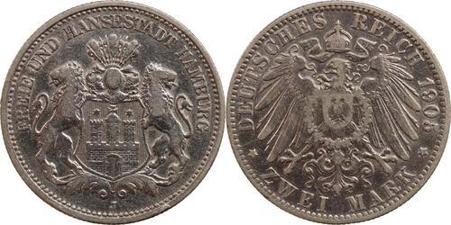 Lieferumfang:Deutschland : 2 Mark  -seltenes Jahr-, winz. Rs. 1905 ss.