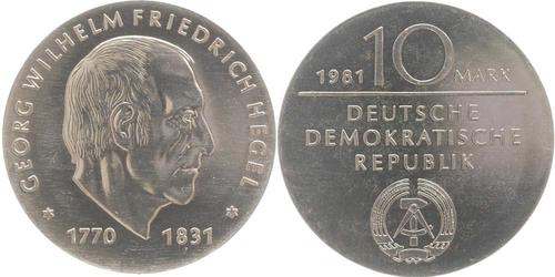 Lieferumfang:DDR : 10 Mark G. W. Friedrich Hegel  1981 Stgl.