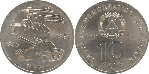 Lieferumfang:DDR : 10 Mark 25 Jahre NVA  1981 vz/Stgl.