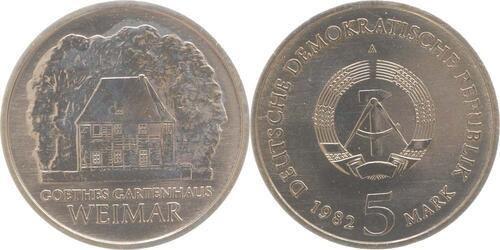 Lieferumfang:DDR : 5 Mark Goethes Gartenhaus  1982 Stgl.