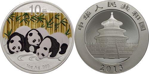 Lieferumfang:China : 10 Yuan Panda, farbig  2013 Stgl.
