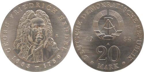 Lieferumfang:DDR : 20 Mark G. Friedrich Händel  1984 Stgl.