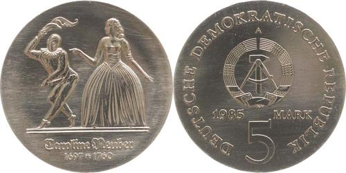Lieferumfang:DDR : 5 Mark Caroline Neuber  1985 Stgl.