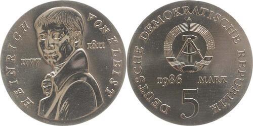 Lieferumfang:DDR : 5 Mark Heinrich von Kleist  1986 Stgl.