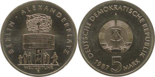 Lieferumfang:DDR : 5 Mark Alexanderplatz  1987 Stgl.