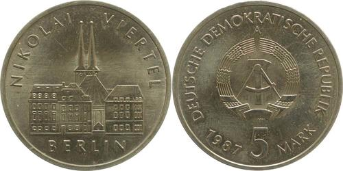 Lieferumfang:DDR : 5 Mark Nikolai-Viertel  1987 Stgl.