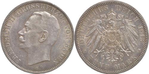 Lieferumfang:Deutschland : 5 Mark Friedrich II. -geschlossenes D- winz. Rs. 1913 vz/Stgl.
