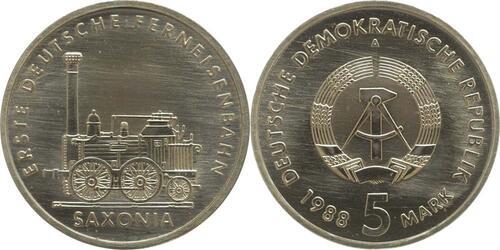Lieferumfang:DDR : 5 Mark Ferneisenbahn Saxonia  1988 Stgl.
