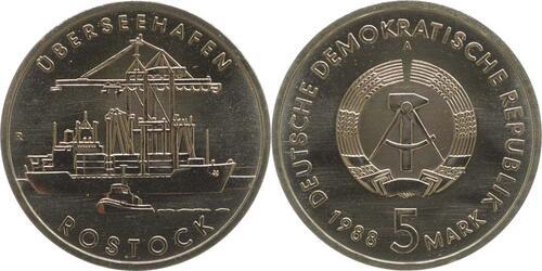 Lieferumfang:DDR : 5 Mark Überseehafen Rostock  1988 Stgl.