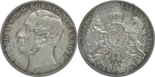 Lieferumfang:Deutschland : 1 Vereinstaler Georg V. winz. Rs., patina 1866 vz/Stgl.