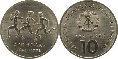 Lieferumfang:DDR : 10 Mark 40 Jahre DDR-Sportbund  1988 Stgl.