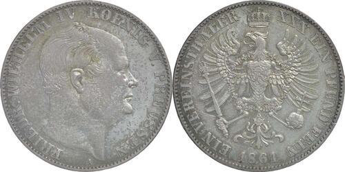 Lieferumfang:Deutschland : 1 Vereinstaler Friedrich Wilhelm IV.; Sterbetaler 2. Januar 1861 patina 1861 vz.