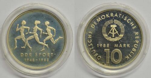 Lieferumfang:DDR : 10 Mark 40 Jahre DDR-Sportbund  1988 PP