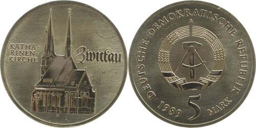 Lieferumfang:DDR : 5 Mark Katharinenkirche Zwickau  1989 Stgl.