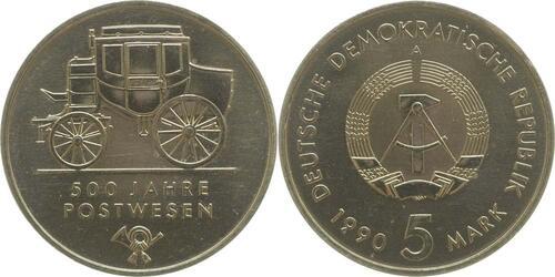 Lieferumfang:DDR : 5 Mark 500 Jahre Postwesen  1990 Stgl.