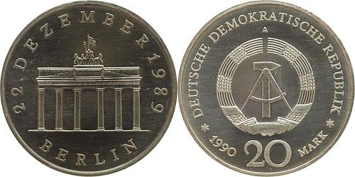 Lieferumfang:DDR : 20 Mark Brandenburger Tor  1990 Stgl.