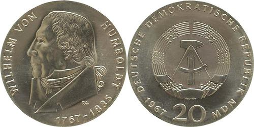 Lieferumfang:DDR : 20 Mark Wilhelm von Humboldt (Randschrift)  1967 Stgl.
